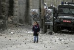 child in war zone